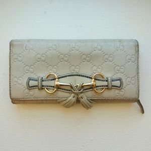 💯Auth Gucci long beige leather wallet - rare